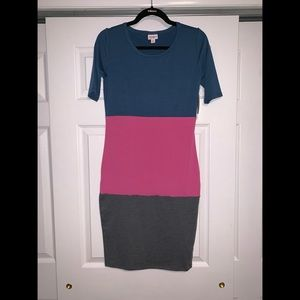 Lularoe colorblock Julia XS grey blue pink